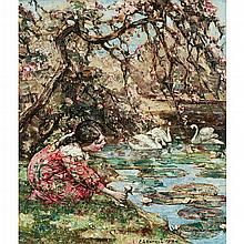 EDWARD ATKINSON HORNEL (SCOTTISH 1864-1933) BY THE LILY POND 61cm x 51cm (24in x 20in)