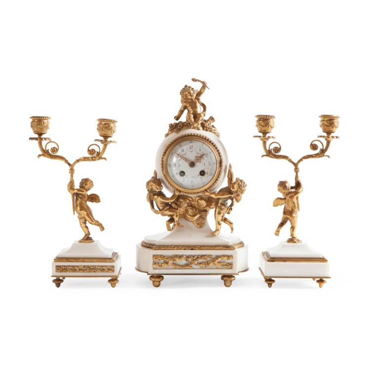FRENCH MARBLE AND GILT METAL CLOCK GARNITURE 19TH CENTURY clock, 32cm high