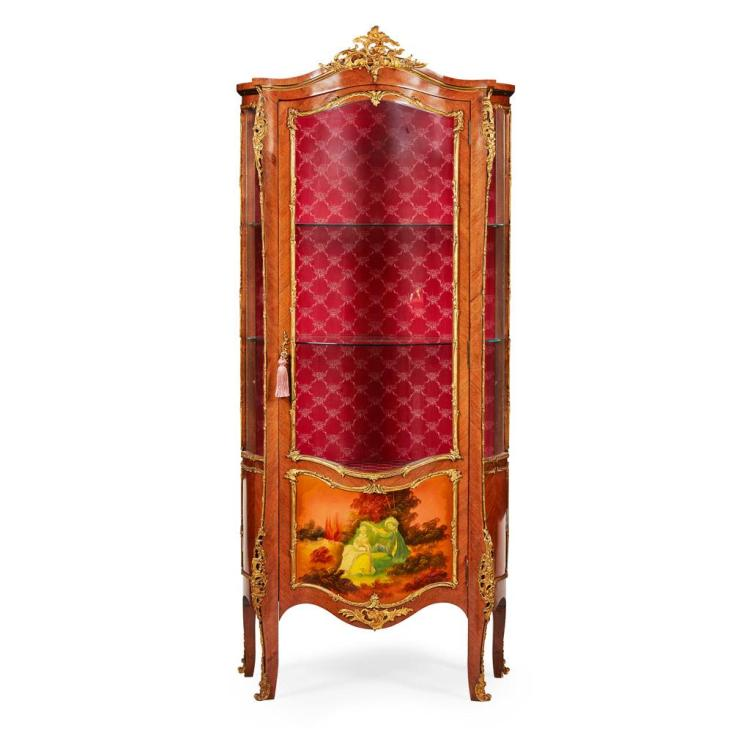 FRENCH KINGWOOD AND VERNIS MARTIN VITRINE CABINET EARLY 20TH CENTURY 81cm wide, 187cm high, 44cm deep