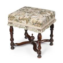 WILLIAM AND MARY WALNUT AND UPHOLSTERED STOOL LATE 17TH CENTURY 43cm wide, 46cm high, 40cm deep