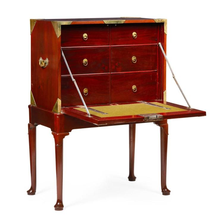 GEORGE III MAHOGANY AND BRASS BOUND SECRETAIRE ON STAND LATE 18TH CENTURY 87cm wide, 127cm high, 55cm deep