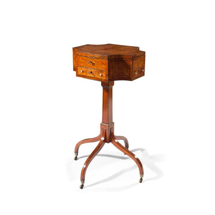 Y FINE GEORGE III SATINWOOD WORK TABLE LATE 18TH CENTURY 44cm wide, 81cm high, 36cm deep