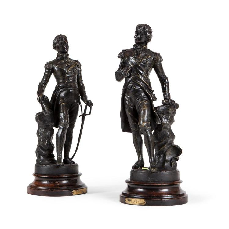 AFTER SYLVAIN KINSBURGER (FRENCH, 1855-1935) LORD WELLINGTON AND ADMIRAL NELSON 40cm high
