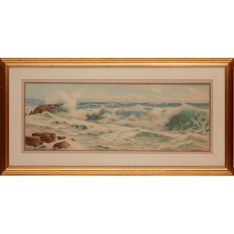 ERNEST STUART (BRITISH FL. 1889-1915) CRASHING WAVES 36.5cm x 99cm (14.5in x 38.75in)