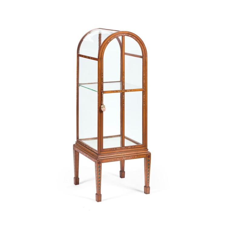EDWARDIAN PAINTED SATINWOOD VITRINE EARLY 20TH CENTURY 51cm wide, 139cm high, 53cm deep