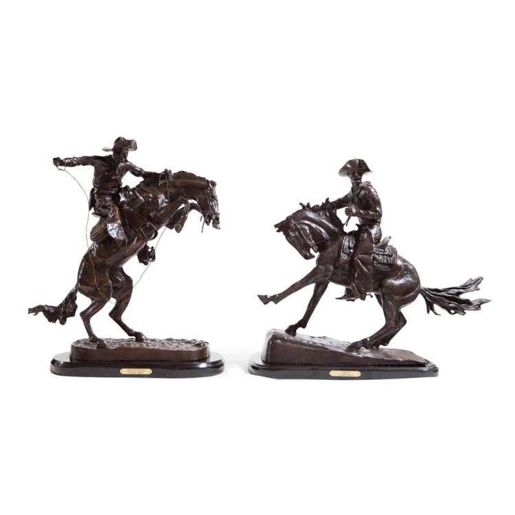 AFTER FREDERIC REMINGTON ''BRONCO BUSTER'' AND ''THE COWBOY'' 56cm high