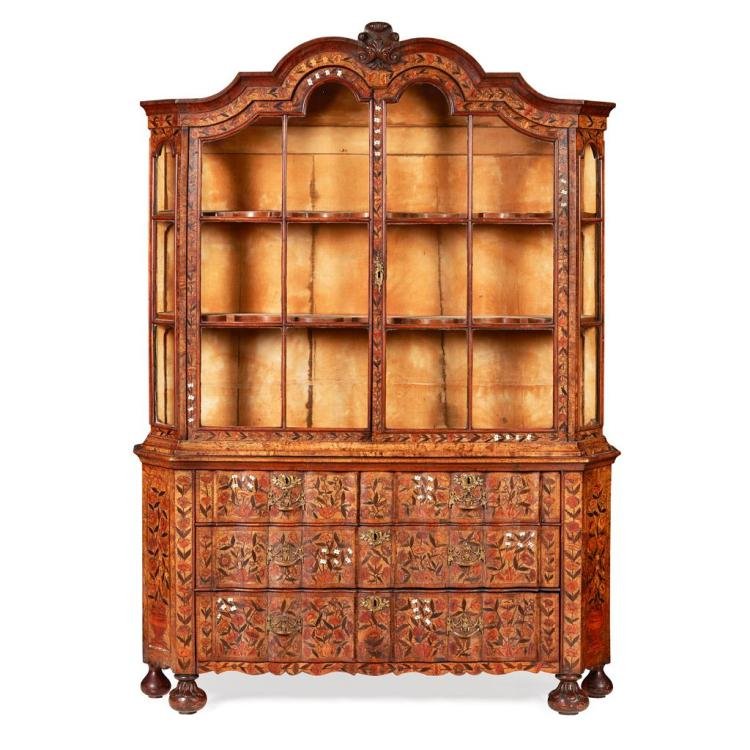 DUTCH WALNUT, BONE AND MARQUETRY DISPLAY CABINET 18TH CENTURY 153cm wide, 203cm high, 40cm deep