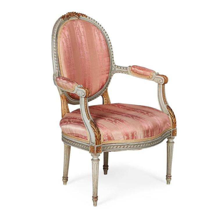GEORGE III STYLE GREY PAINTED AND PARCEL GILT ARMCHAIR 19TH CENTURY 62cm wide, 95cm high, 53cm deep