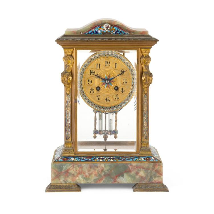 FRENCH CHAMPLEVE ENAMEL AND ONYX MANTEL CLOCK EARLY 20TH CENTURY 33cm high