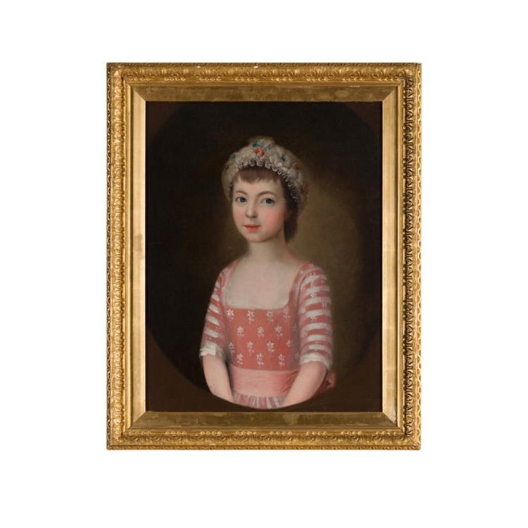EARLY 19TH CENTURY BRITISH SCHOOL PORTRAIT OF A YOUNG GIRL 65cm x 49cm (25.5in x 19.25in)