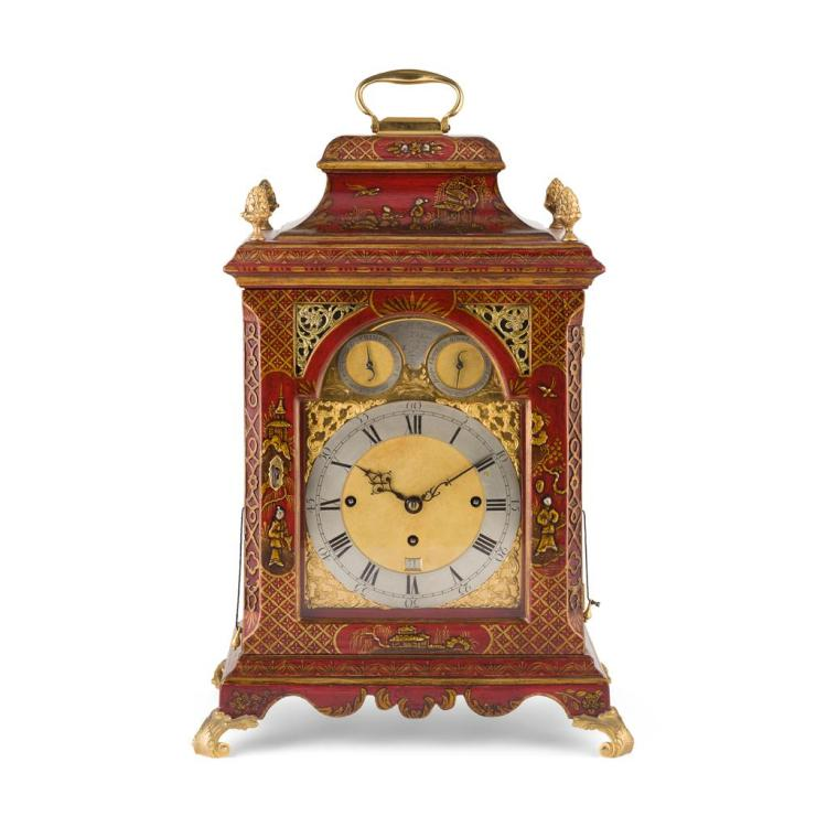 GEORGE III PARCEL GILT AND RED JAPANNED MUSICAL BRACKET CLOCK, ROBERT WARD, LONDON CIRCA 1780 55cm high (handle up), 34cm wide, 24.5...