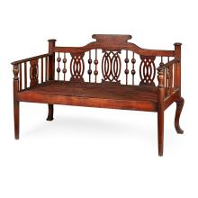 LARGE ANGLO-COLONIAL HARDWOOD DAYBED 19TH CENTURY 169cm wide, 117cm high, 80cm deep