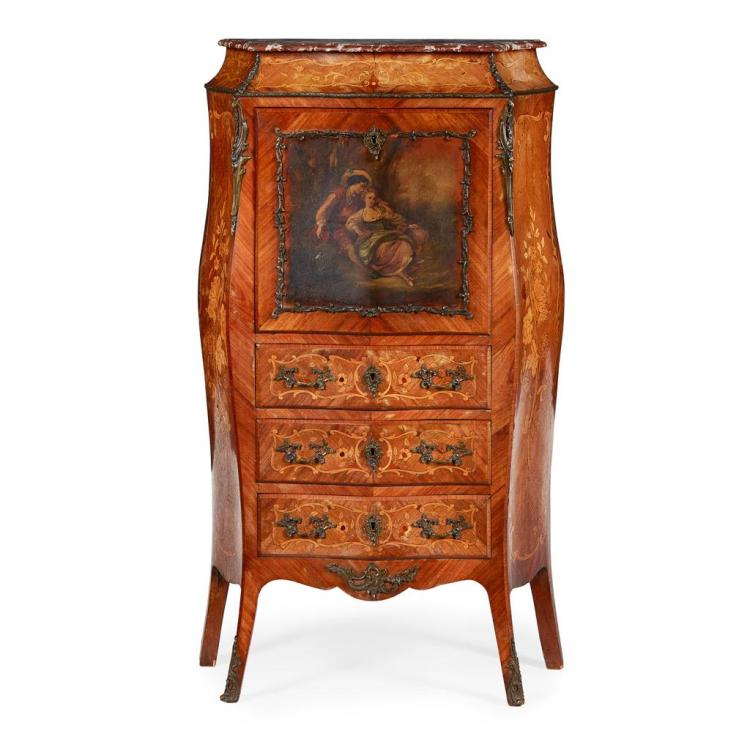 FRENCH KINGWOOD, MARQUETRY AND VERNIS MARTIN SECRETAIRE A ABBATANT LATE 19TH CENTURY 76cm wide, 131cm high, 35cm deep