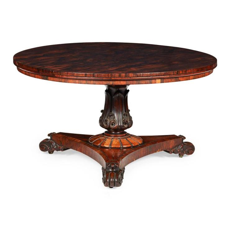 GEORGE IV ROSEWOOD CENTRE TABLE EARLY 19TH CENTURY 130cm diameter, 72cm high