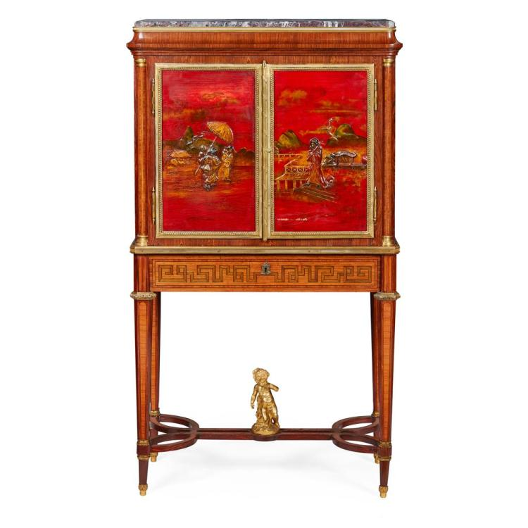 FRENCH LACQUER CABINET ON STAND BY MAISON GIROUX 19TH CENTURY 81cm wide, 144cm high, 42cm deep