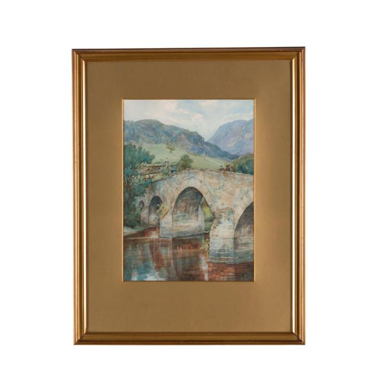 FREDERICK GOODALL (BRITISH 1822-1904) BRIDGE OVER THE RIVER LYON, NEAR FORTINGALL 33.5cm x 24cm (13in x 9.5in)