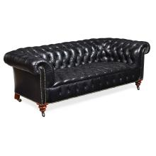 LATE VICTORIAN BLACK LEATHER CHESTERFIELD LATE 19TH CENTURY 204cm wide, 70cm high, 60cm deep