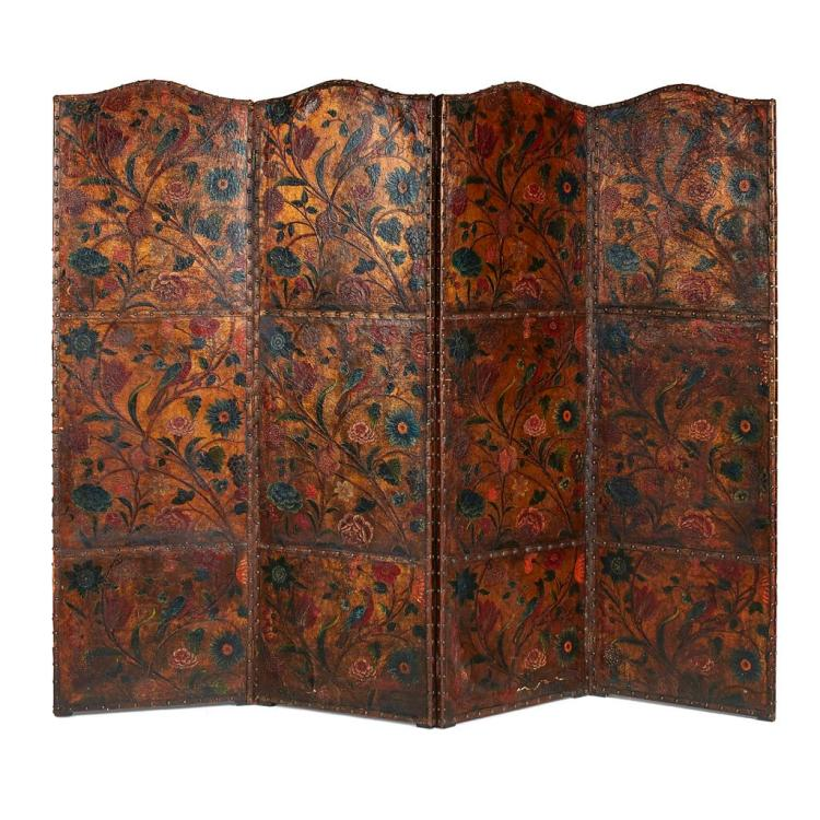 FINE DUTCH POLYCHROME AND GILT LEATHER FOUR PANEL SCREEN 19TH CENTURY 244cm wide, 197cm high