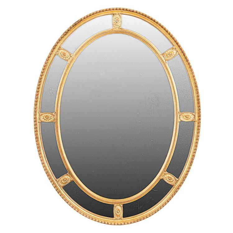 GEORGE III STYLE GILTWOOD OVAL MIRROR LATE 19TH CENTURY 92cm high, 71cm wide