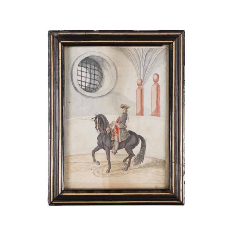 18TH/19TH CENTURY FRENCH SCHOOL FOUR SCENES OF HORSEMEN IN UNIFORM 19cm x 14cm (7.5in x 5.5in) (4)