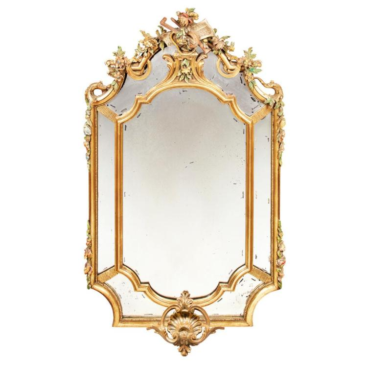 CONTINENTAL POLYCHROME AND GILT MIRROR EARLY 20TH CENTURY 145cm high, 91m wide