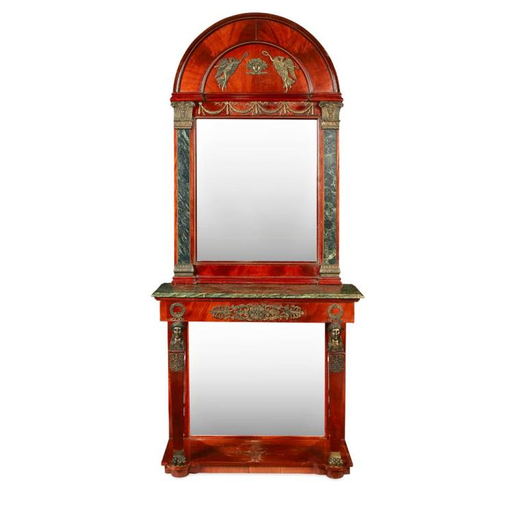 FRENCH EMPIRE STYLE MAHOGANY CONSOLE TABLE AND MIRROR EARLY 20TH CENTURY 104cm wide, 236cm high, 49cm deep