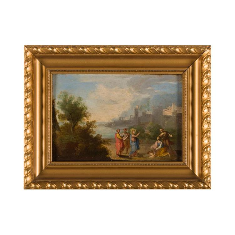 CIRCLE OF ALESSIO DE MARCHIS (ITALIAN 1684-1752) PAIR OF BIBLICAL SCENES 10cm x 14.5cm (4in x 5.75in)