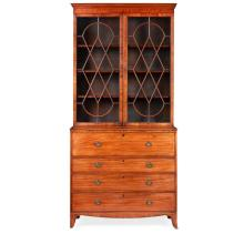 GEORGE III STYLE MAHOGANY AND BURRWOOD SECRETAIRE BOOKCASE LATE 19TH CENTURY 114cm wide, 243cm high, 56cm deep
