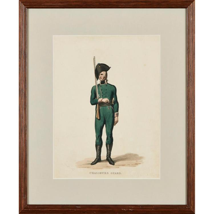 AFTER ALEXANDER ORLOVSKII (POLISH 1777-1832) FROM ''COSTUMES OF THE RUSSIAN ARMY'' 31cm x 23cm (12in x 9in) and two further similar li.