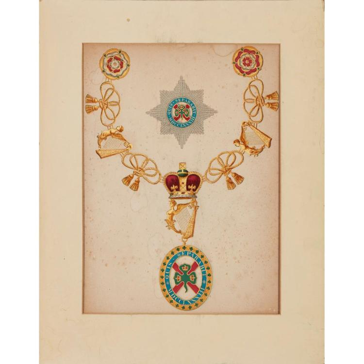 ENGLISH SCHOOL STUDY OF THE DESIGN OF THE ORDER OF ST. PATRICK 31.5cm x 23cm (12.5in x 9in) and a lithograph ''Three Breastplates'' (2.