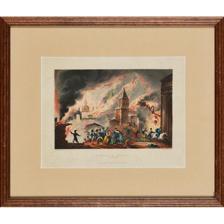 AFTER WILLIAM HEATH (BRITISH 1794-1840) BURNING OF MOSCOW 1812 21cm x 27cm (8.25in x 10.5in) and eight further prints of Russian cit...