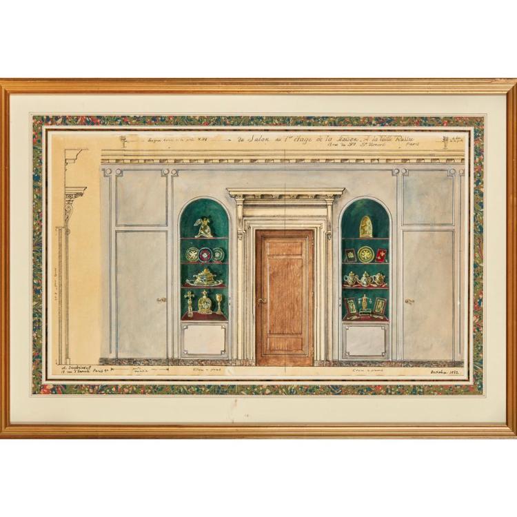 ALEXANDRE BORISOVICH SEREBRIAKOFF (RUSSIAN 1907-1995) SALON ON THE 1ST FLOOR, LA MAISON A LA VIELLE RUSSIE 36.5cm x 63cm (14.25in x...