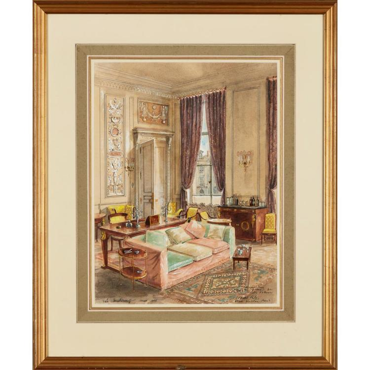 ALEXANDRE BORISOVICH SEREBRIAKOFF (RUSSIAN 1907-1995) DIVAN IN THE APARTMENT OF LADY FELLOWES IN THE RITZ HOTEL, PLACE VENDÔ 42.5cm...