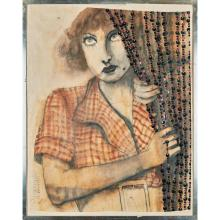 **WALLERMAN PORTRAIT OF JOAN CRAWFORD WITH BEAD CURTAIN 108cm x 85cm (42.5in x 33.5in)