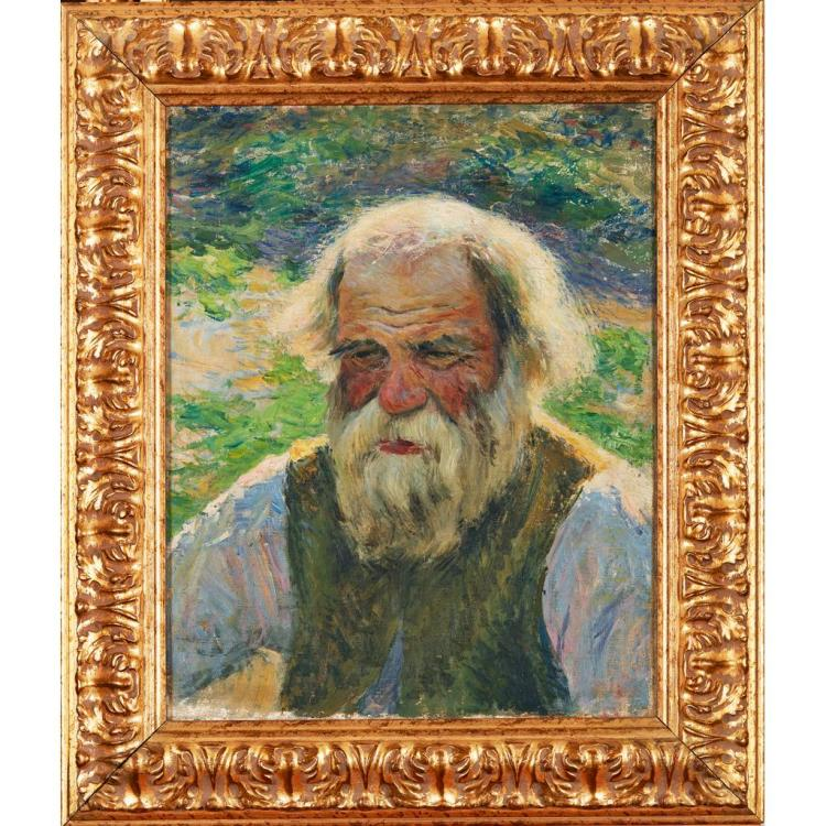 FOLLOWER OF ILYA YEFIMOVICH REPIN (RUSSIAN 1844-1930) PORTRAIT OF AN OLD RUSSIAN PEASANT 50cm x 40cm (19.75in x 15.75in)