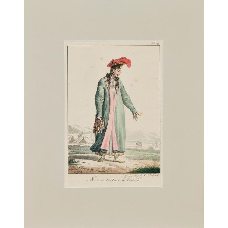 AFTER HIPPOLYTE LECTOME (FRENCH 1781-1857) FEMME TARTARE KALMOUK 22cm x 14cm (8.75in x 15.5in) and four further lithographs (5)