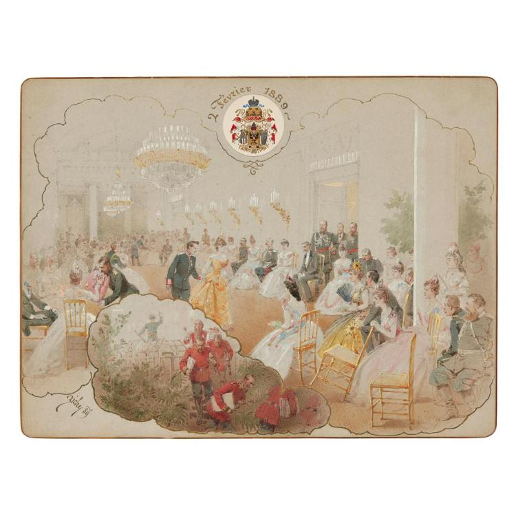 COUNT MIHALY VON ZICHY (HUNGARIAN 1827-1906) ALEXANDER III AT THE WINTER PALACE BALL/ANICHKOV PALACE, ST. PETERSBUR 24cm x 32cm (9.5...