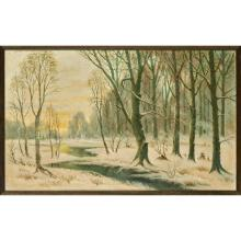 W. CRULL A SNOW-COVERED WOODED WINTER LANDSCAPE 56cm x 91.5cm (22in x 36in)