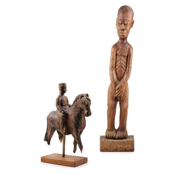 AFRICAN CARVED WOOD FIGURE, POSSIBLY GAMBIAN