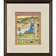 AFTER IVAN YAKOVLEVICH BILIBIN (RUSSIAN 1876-1942) SISTER ALYONUSHKA AND BROTHER IVANUSHKA 29cm x 23cm (11.5in x 9in)