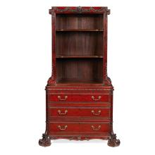 FINE GEORGE II STYLE MAHOGANY CABINET BOOKCASE, BY HENRY SAMUEL, LONDON 19TH CENTURY 103cm wide, 180cm high, 51cm deep