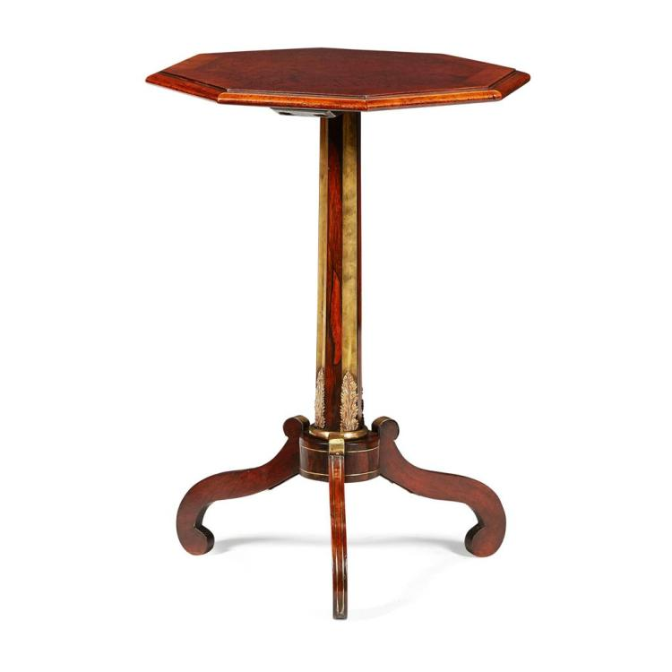 FINE REGENCY ROSEWOOD, THUYA WOOD, AND BRASS MOUNTED OCTAGONAL TRIPOD TABLE, IN THE MANNER OF JOHN MACLEAN EARLY 19TH CENTURY 49.5cm...