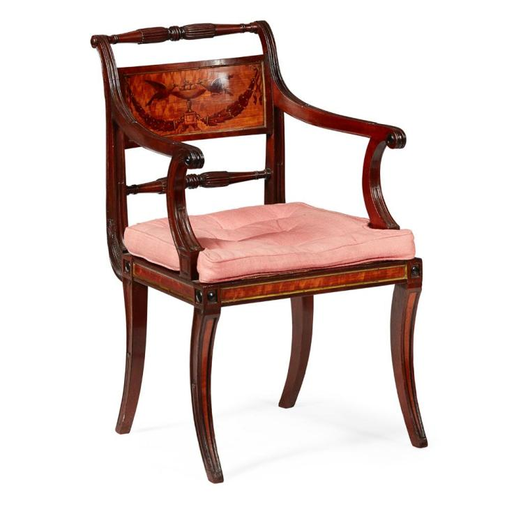 FINE LATE GEORGE III MAHOGANY, SATINWOOD AND PAINTED ARMCHAIR LATE 18TH CENTURY 55cm wide, 88cm high, 53cm deep