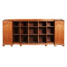 WHYTOCK AND REID MAHOGANY AND THUYA WOOD LOW OPEN BOOKCASE 20TH CENTURY 245cm wide, 108cm high, 40cm deep