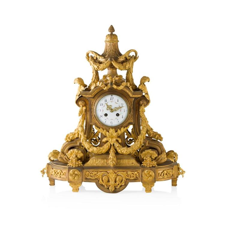 FINE FRENCH ORMOLU MANTEL CLOCK 19TH CENTURY 48cm wide, 54cm high