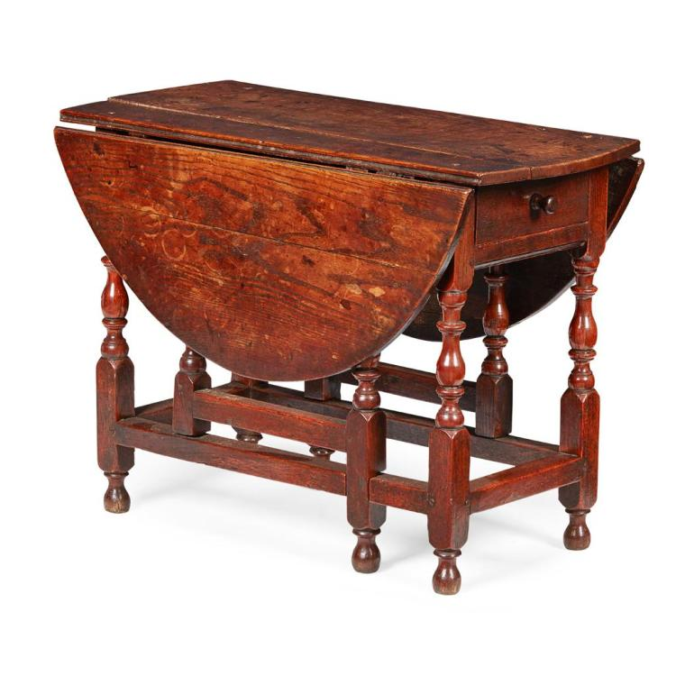 GEORGE I SMALL OAK GATELEG DROPLEAF TABLE EARLY 18TH CENTURY 92wide, long, 65cm high, 40cm deep, 110cm (open)