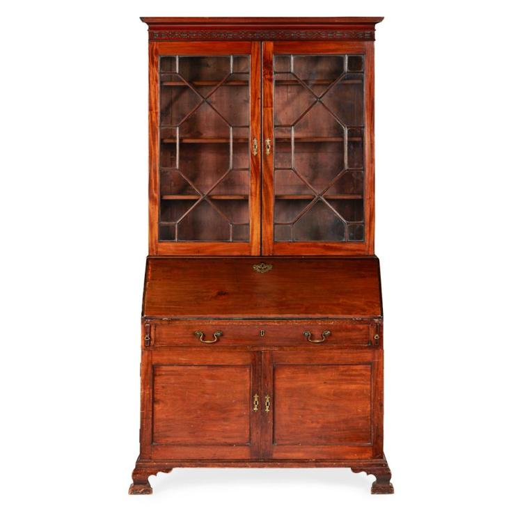 GEORGE III MAHOGANY BUREAU BOOKCASE 18TH CENTURY 112cm wide, 215cm high, 60cm deep