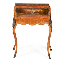 FRENCH KINGWOOD, PARQUETRY AND VERNIS MARTIN BUREAU DE DAME LATE 19TH CENTURY 77cm wide, 95cm high, 47cm deep
