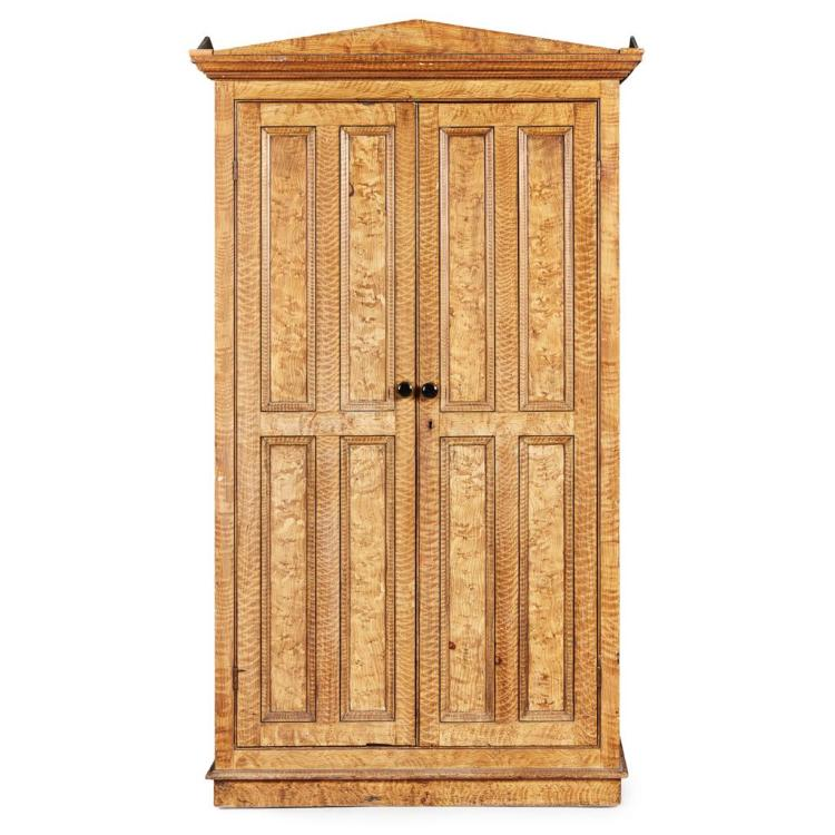 EARLY VICTORIAN SCUMBLED PINE CUPBOARD 19TH CENTURY 119cm wide, 207cm high, 53cm deep