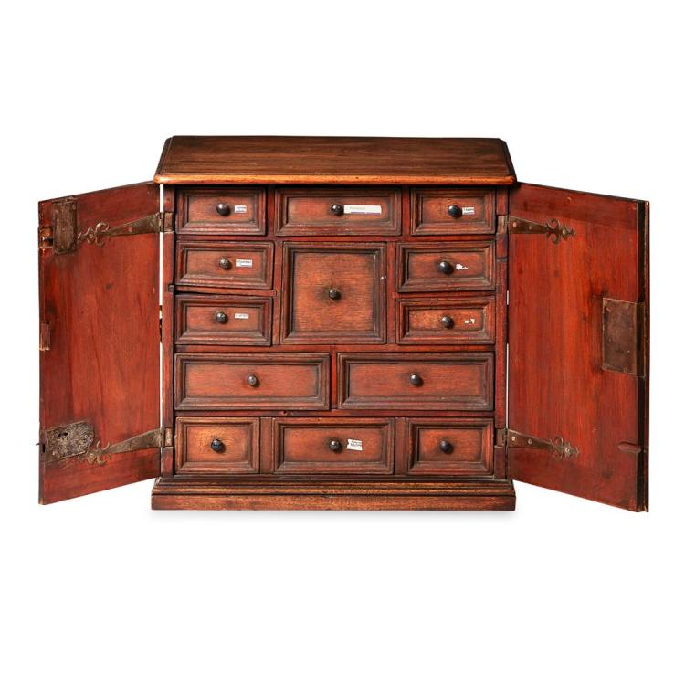 GEORGE II OAK, ELM AND WALNUT TABLE CABINET 18TH CENTURY 53cm wide, 49cm high, 36cm deep